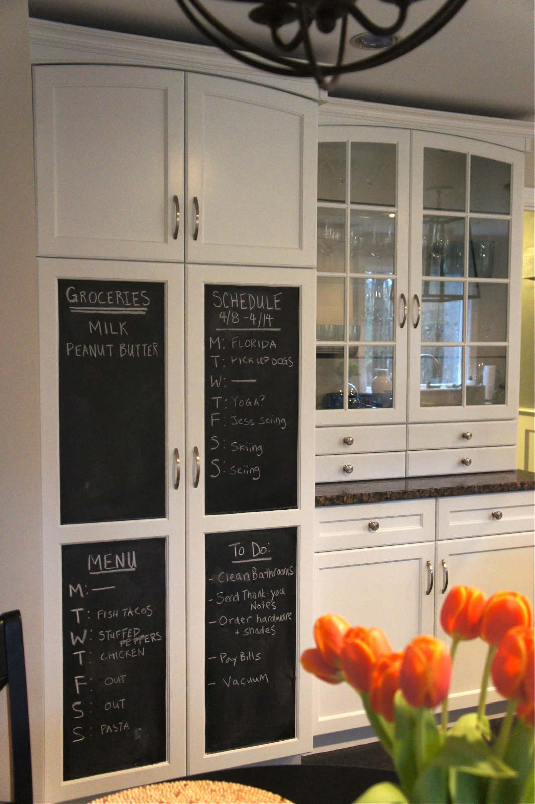 Chalkboard In Kitchen Rustic Black Cabinets Home With Baxter