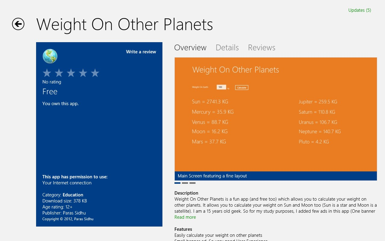 [Windows 8 Store App] Weight On Other Planets - Download ...