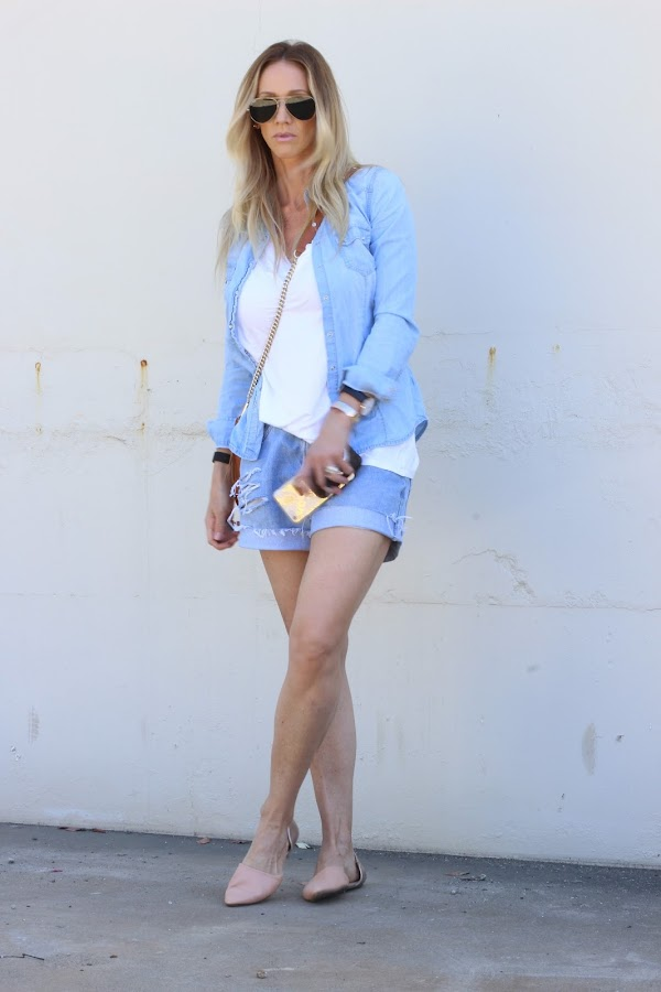 chambray with shorts
