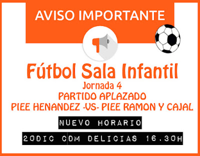 FÚTBOL SALA INFANTIL: Horario partido aplazado jornada 4