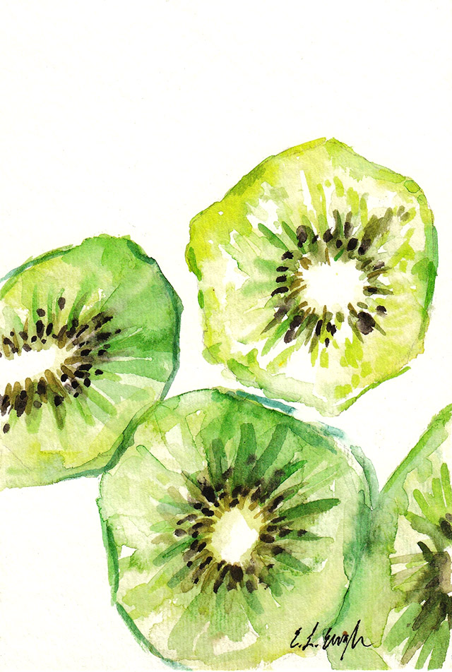 watercolor kiwi art by Elise Engh