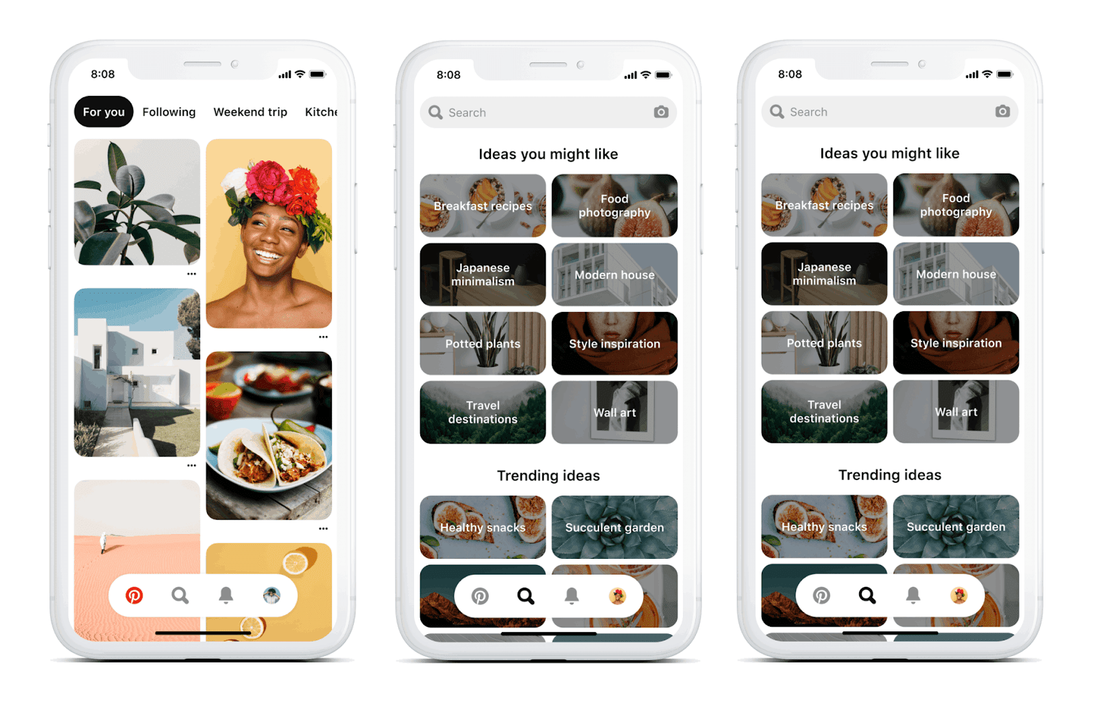 Pinterest is finally rolling out its updated app design / Digital ...