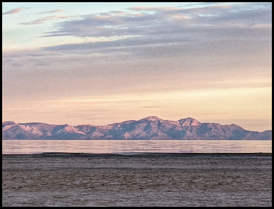 Sunrise lighting up the West Mountains of the Great Salt Lake