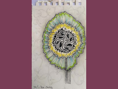 Project Pack 11 day 8 - Sunflower with tangles Molygon, Pokeleaf and a DooDah stem