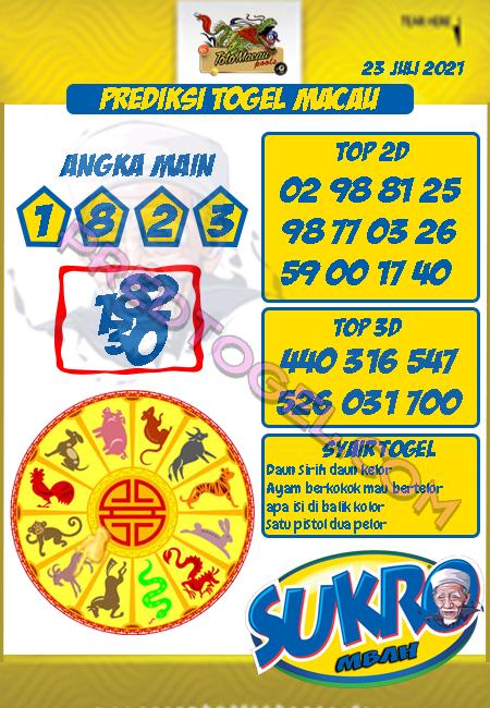Pred Mbah Sukro Macau Jumat 23 Juli 2021