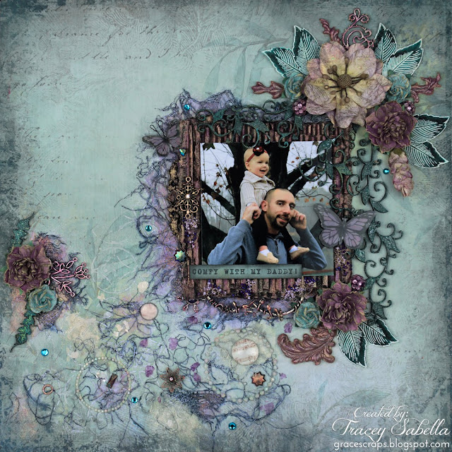 """Comfy with My Daddy"" mixed media layout by Tracey Sabella. Entered in the March More Than Words Main Challenge. #49andMarket  #49&Market  #DustyAttic #Finnabair #PrimaMarketing #mixedmedia #scrapbooklayout  #chipboard  #papercrafting #prills"