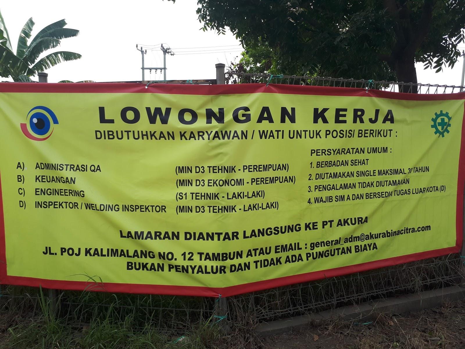 Lowongan Kerja PT AKURA BINA CITRA (Dibulan November 2018)