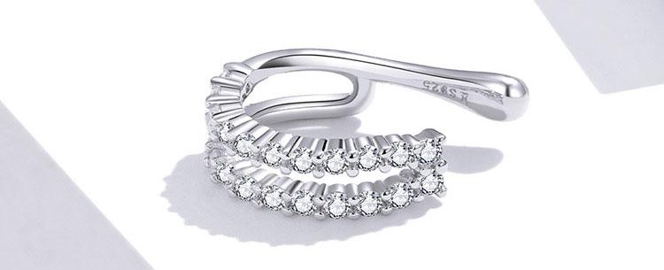 個性風雙層鋯石 925純銀耳骨夾(單只)