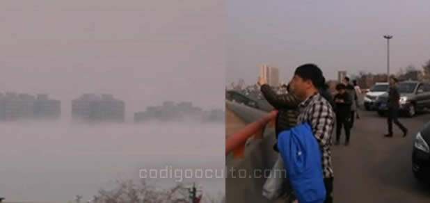 La gente corrió apresuradamente para filmar la misteriosa ciudad flotante.