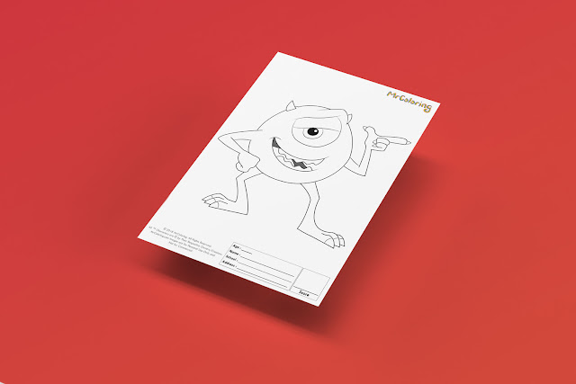 Free Printable Scary Monster Inc Coloriage Outline Blank mike wazowski Disney Coloring Page pdf For Kids Kindergarten Preschool toddler coloring sheets 1