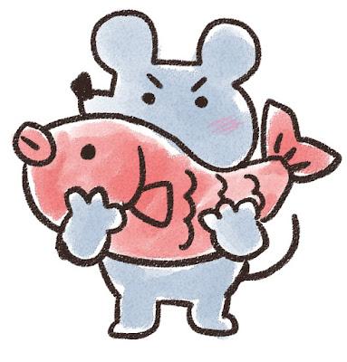 鯛を持ち上げるネズミのイラスト(子年)