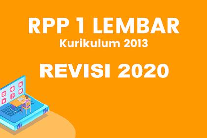 Download RPP 1 Lembar PJOK K13 Revisi 2020 Kelas VII, VIII & IX