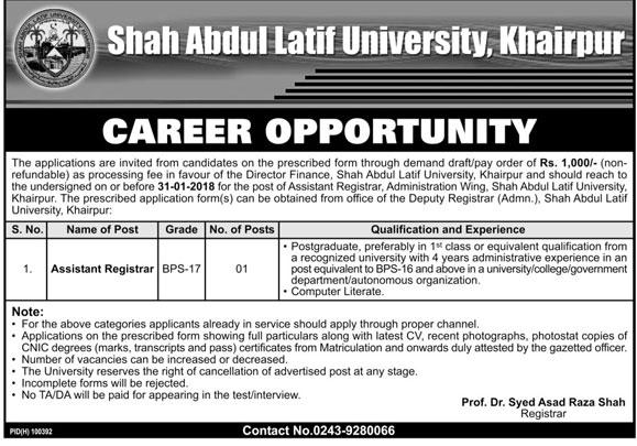 Latest Jobs in Shah Abdul Latif University, Khairpur Jan 2018