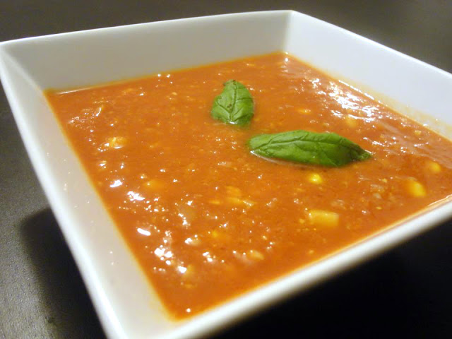 Tomato, Sweetcorn, Soup, Fresh Basil, Recipe