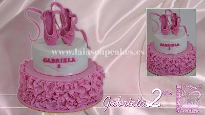tarta personalizada fondant modelado 3d zapatillas bailarinas ballet laia's cupcakes puerto sagunto