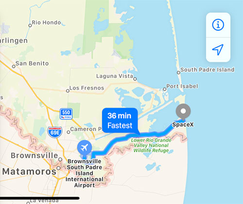 Fly into Brownsville, TX and drive to SpaceX in Boca Chica (Source: Palmia Observatory)