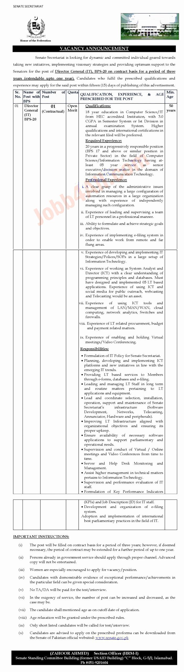 Senate of Pakistan Jobs 2021 - Application Performa  www.senate.gov.pk
