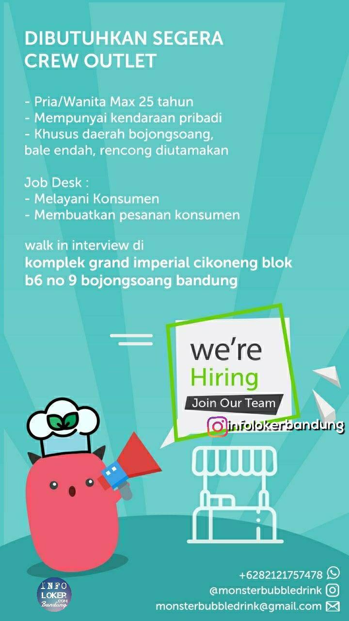 Lowongan Kerja Crew Outlet Monster Bubble Drinks Bandung Oktober 2018