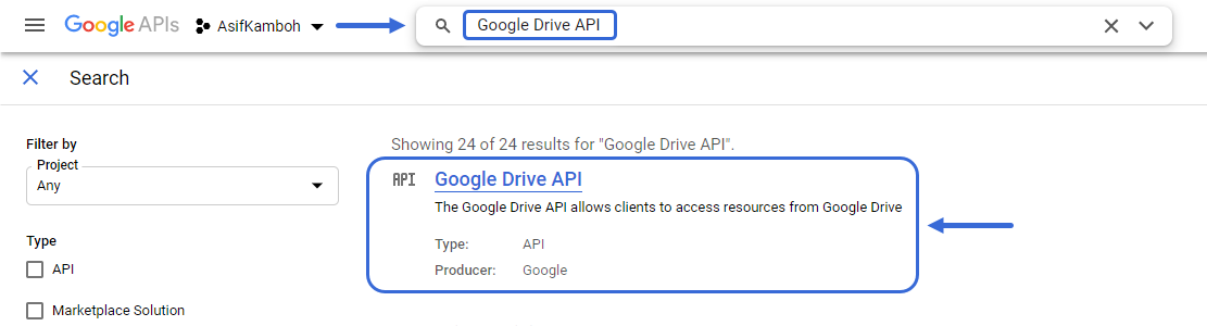 """Search for """"Google Drive API"""" in the search box."""