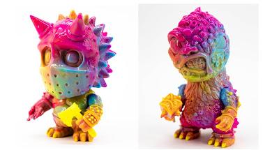 Mini Berserker & Chibi Toxigon Rainbow Marbled Edition Vinyl Figures by Mutant Vinyl Hardcore x Unbox Industries