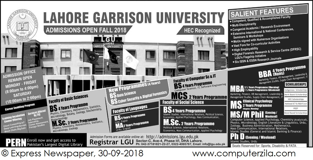 Admissions Open For Fall 2018 At LGU Lahore Campus