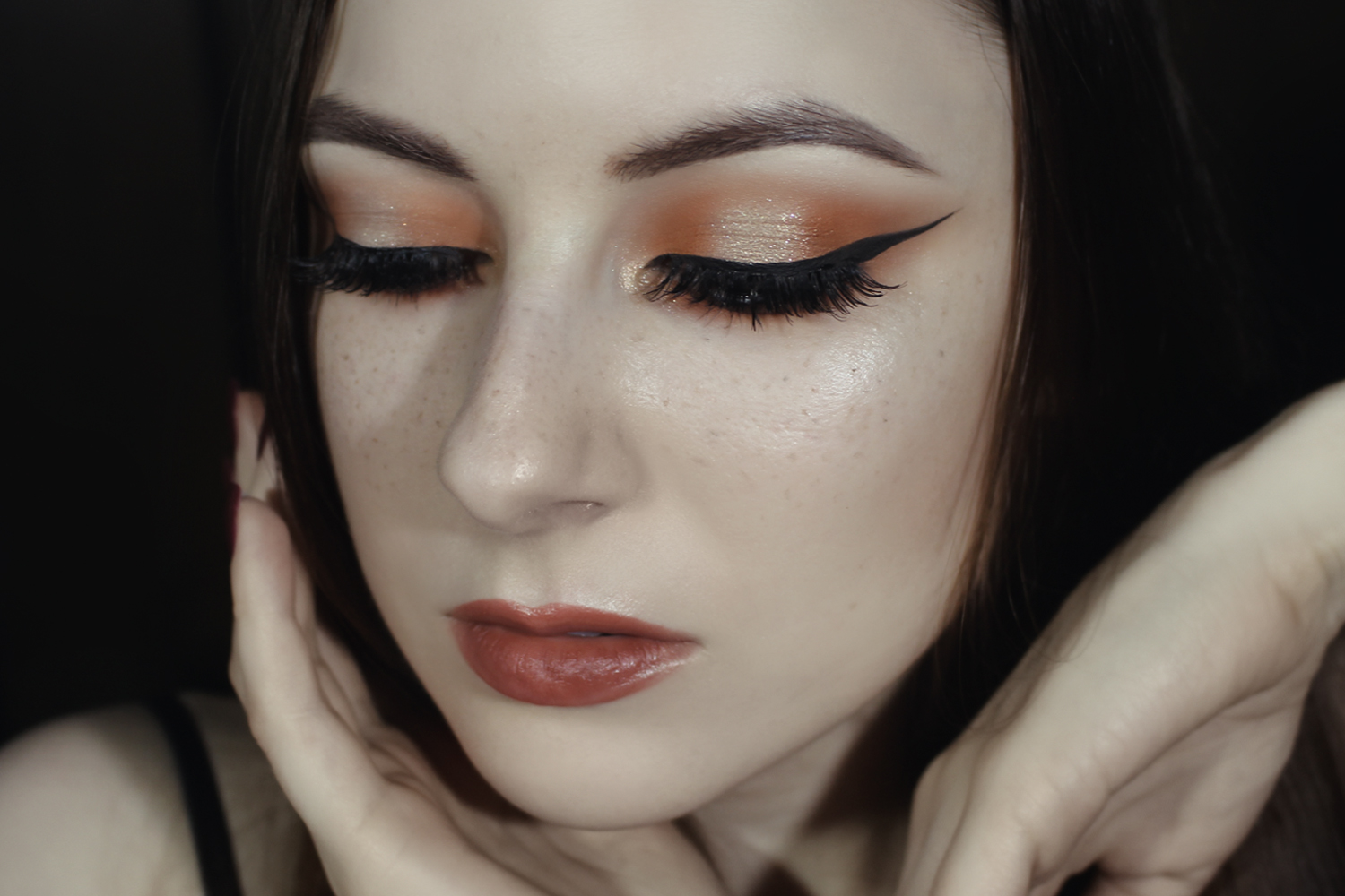 a close up portrait of a face with a perfect instagram makeup look