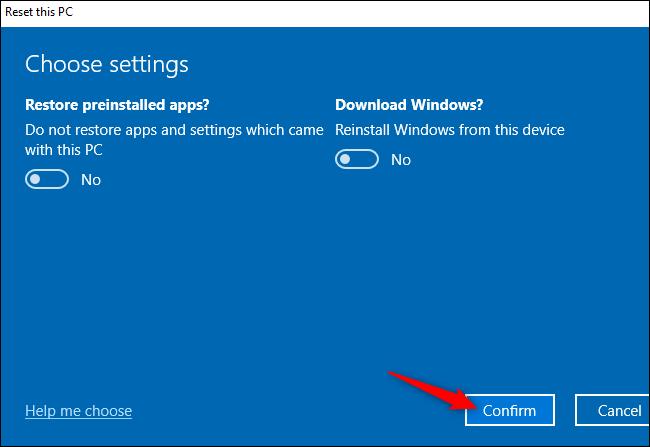 """الزر """"تأكيد"""" لإعادة تعيين جهاز كمبيوتر يعمل بنظام Windows 10."""