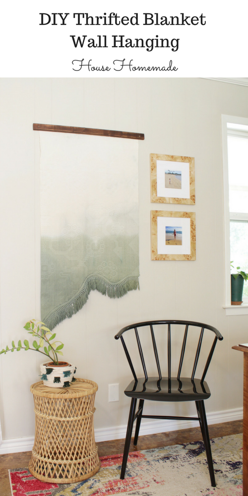 Get large wall art with this dip dyed thrifted blanket wall hanging. Such an easy DIY for big impact!