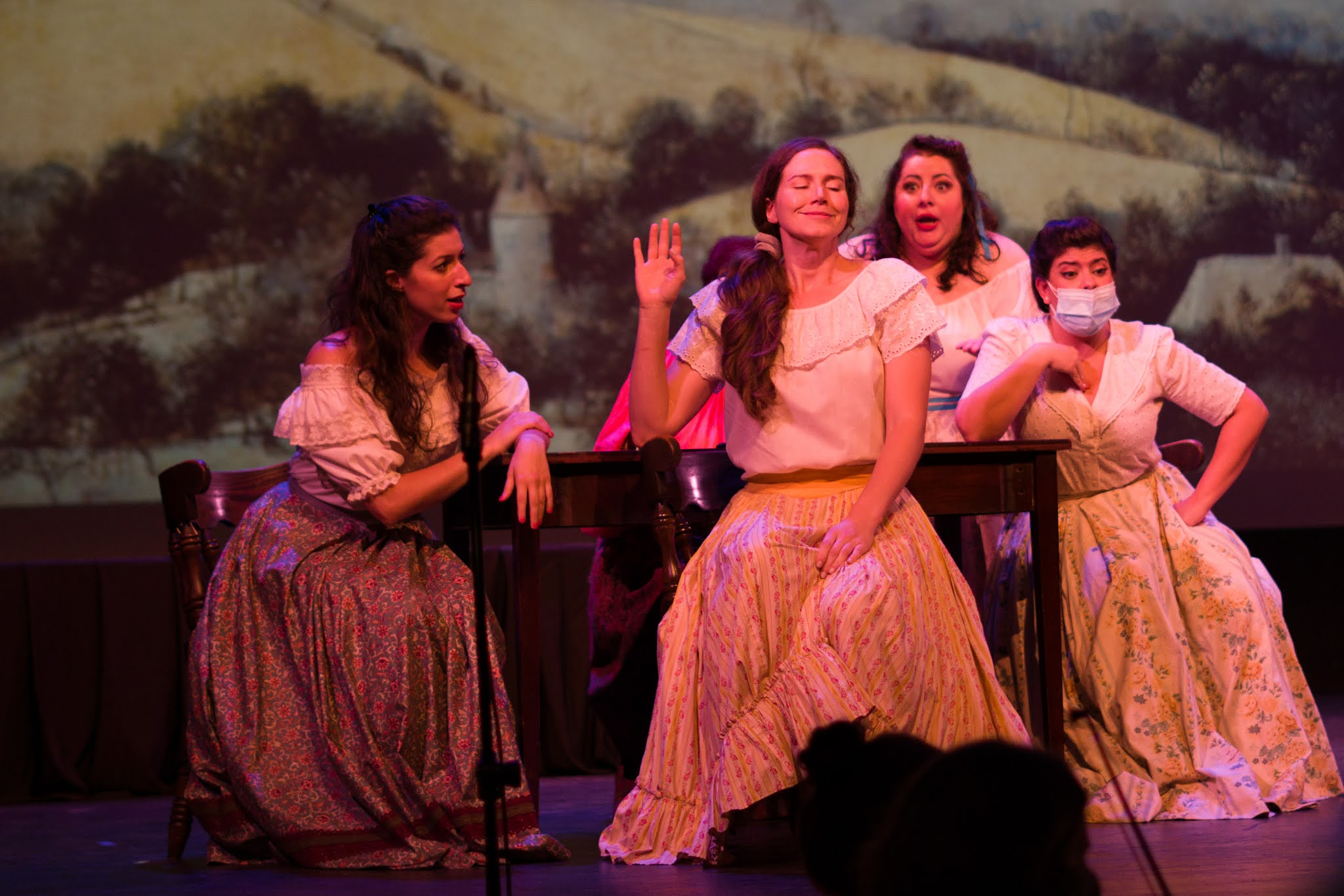 IN REVIEW: sopranos KIRSTEN SCOTT (center left) and MICHELLE TROVATO (center right), who alternated as Giannetta in Opera in Williamsburg's September 2021 production of Gaetano Donizetti's L'ELISIR D'AMORE [Photograph © by Diego Valdez; used with permission]