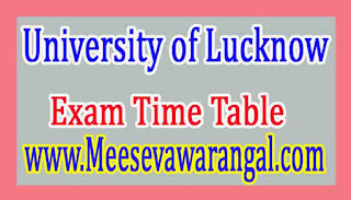 University of Lucknow M.Sc Chemistry 3rd Sem Practical Jan 2017 Exam Time Table