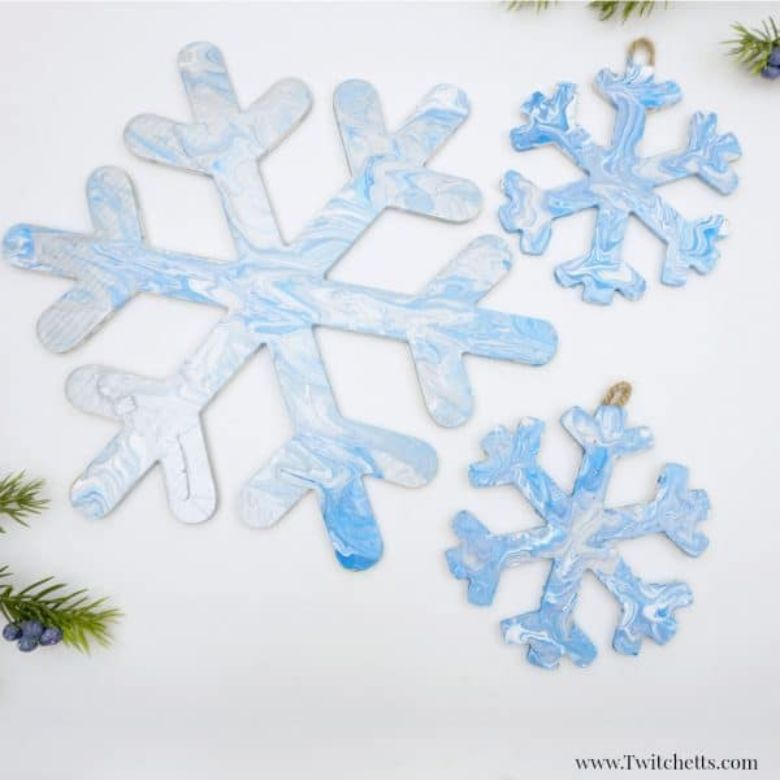 pour painting snowflake craft for kids