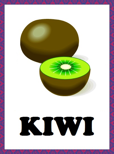 Kindergarten Worksheets Fruits Flashcards Kiwi