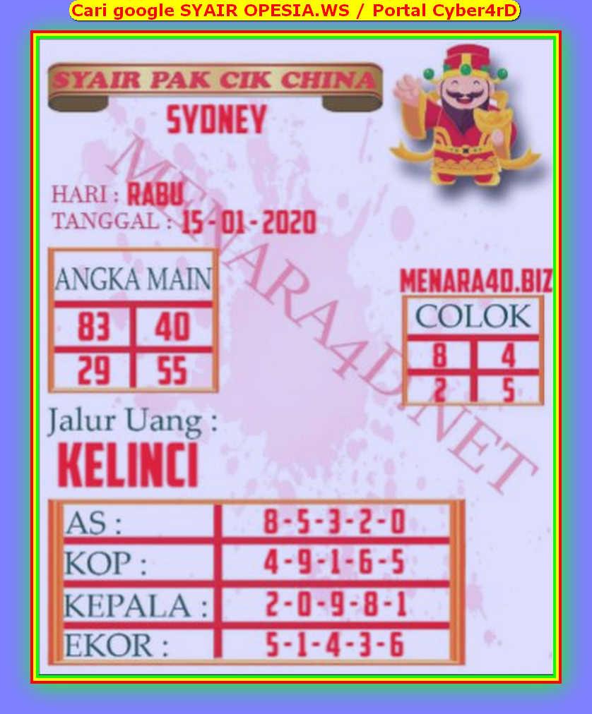 Kode syair Sydney Rabu 15 Januari 2020 131