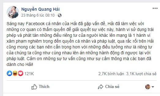 """Quang Hải nhắn tin với kẻ hack Facebook: """"Bạn và 7 người đã xâm phạm quyền riêng tư"""""""