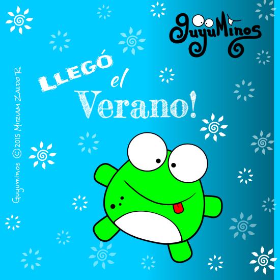 tarjeta rana verde con  frase Llegó el Verano Guyuminos 2015 ilustracion