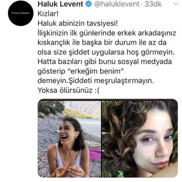 Pınar Gültekin cinayetinden sonra kızlara tavsiyelerde bulunup yapmazsanız ölürsünüz diyen Haluk Levent, yoğun bir şekilde tepki aldı.