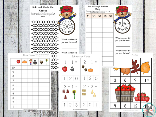 counting, subtraction, skip counting fall kindergarten worksheets