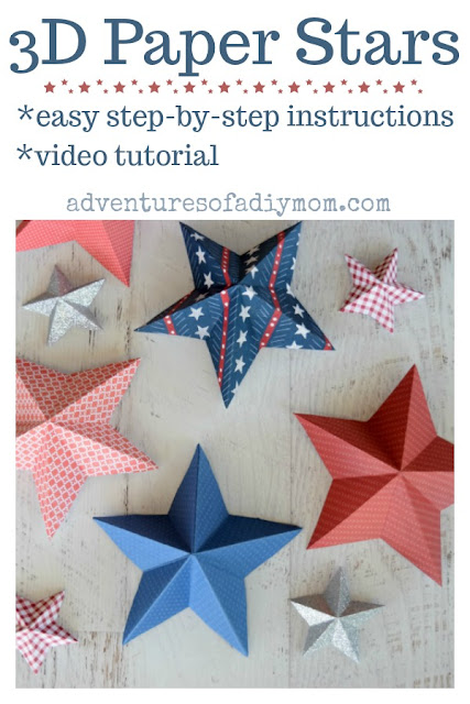 3D paper stars with easy to follow instructions