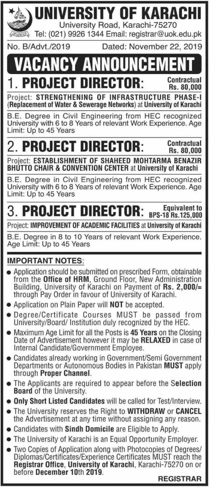 University of Karachi Jobs 2019 Sindh