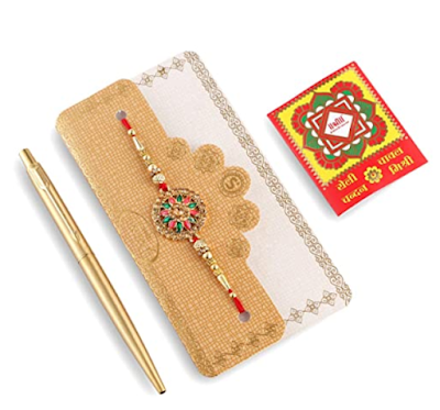 Parker Raksha Bandhan Special Edition Classic Gold Ball Pen with Gold Trim With Rakhi and Roli