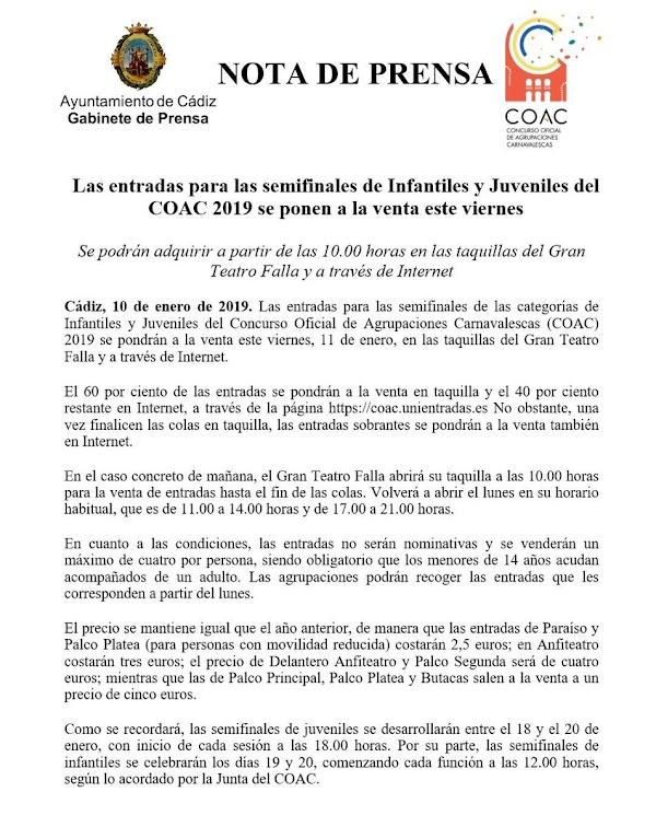 Venta de entradas para el COAC 2019 Infantil y Juvenil