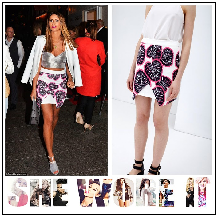 Black, Ferne Mccann, Graphic Print, Hot Pink, Lavish Alice, Leaf Print, Mini Skirt, Skirt, The Only Way Is Essex, TOWIE, Wrap Front,