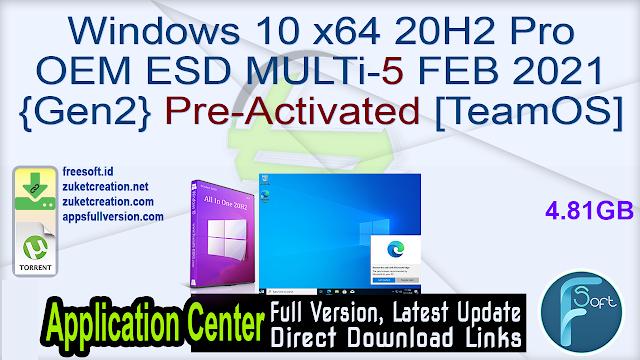 Windows 10 x64 20H2 Pro OEM ESD MULTi-5 FEB 2021 {Gen2} Pre-Activated [TeamOS]