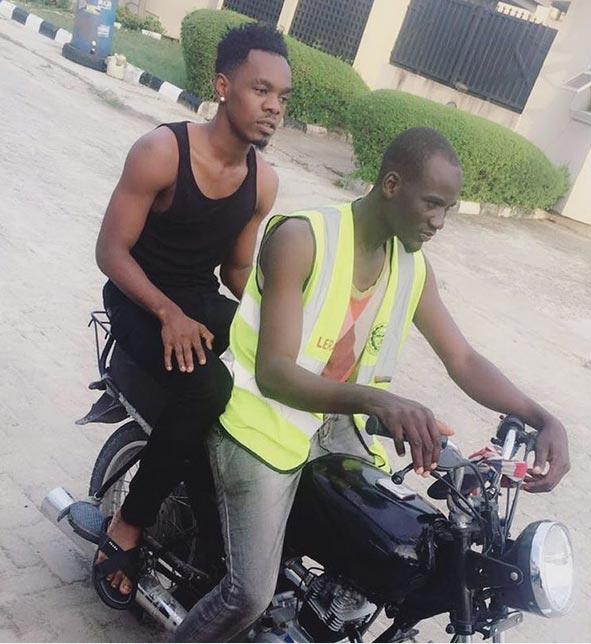 Patoranking seen traveling on commercial bike aka okada