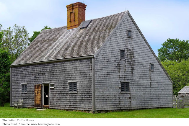 shingled Jethro Coffin House, gray and weathered