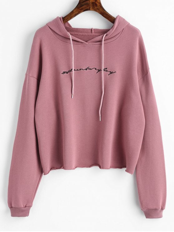 Raw Hem Letter Embroidered Hoodie