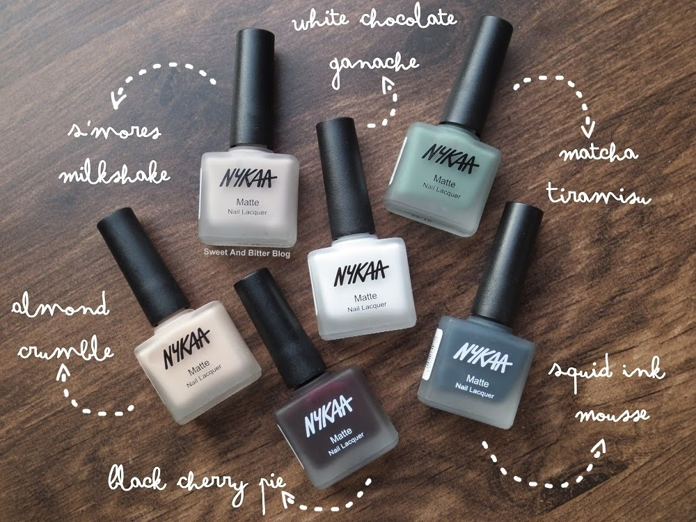6 Nykaa Matte Nail Lacquer Swatch and Review | Sweet and Bitter Blog