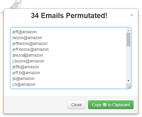 Email Permutator to Discover a Person's Email