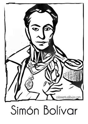 colorear  Simón Bolívar