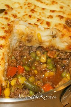 This ultimate comfort food recipe has a rich tasty gravy, ground beef, veggies topped with fluffy mashed potatoes.